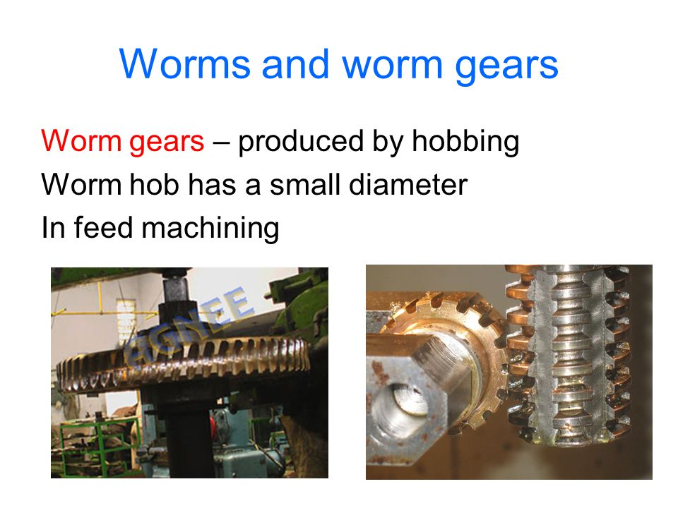 Worms and worm gears Worm gears – produced by hobbing Worm hob has a small diameter In feed machining