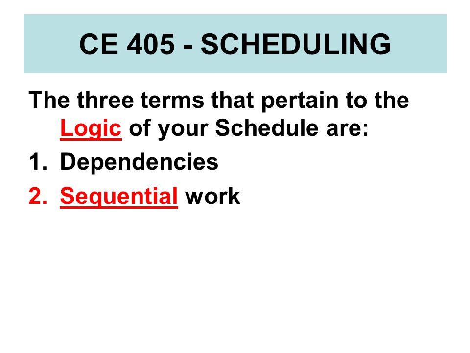 CE 405 – SCHEDULING CRITICAL PATH Critical Path Method (CPM) handout -Logic Boxes – numerous layouts -Combination Convention -BOTD + EOTD [Primavera]