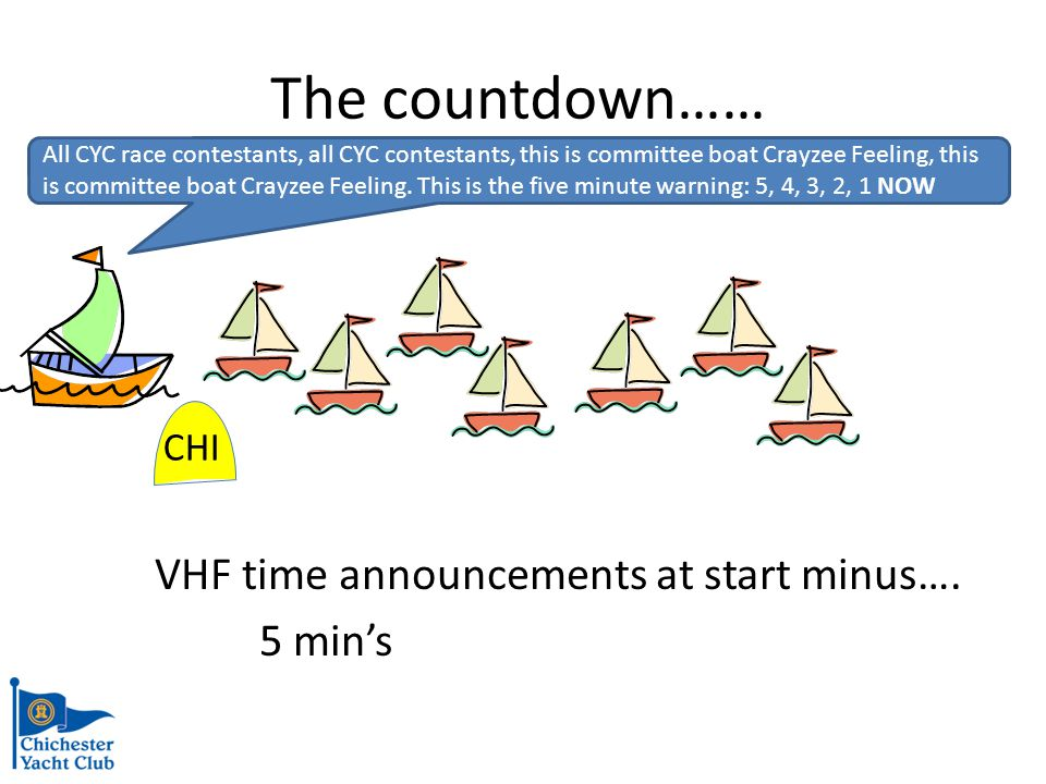 VHF time announcements at start minus….