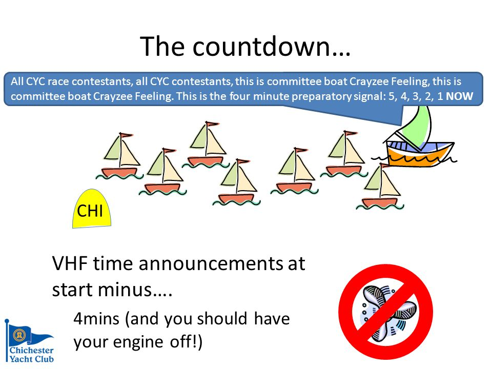 The countdown… 1 min to go 1 minute before the start, the Committee Boat will head away from the starting mark…..