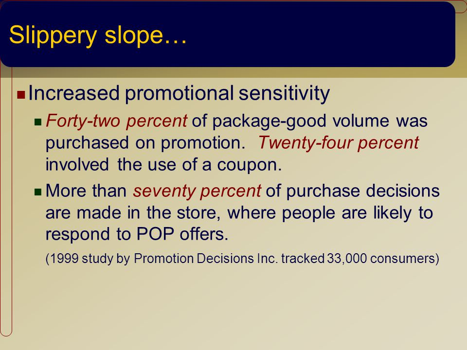 Slippery slope… Increased promotional sensitivity Forty-two percent of package-good volume was purchased on promotion.