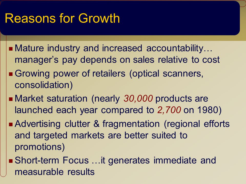 Reasons for Growth Mature industry and increased accountability… managers pay depends on sales relative to cost Growing power of retailers (optical scanners, consolidation) Market saturation (nearly 30,000 products are launched each year compared to 2,700 on 1980) Advertising clutter & fragmentation (regional efforts and targeted markets are better suited to promotions) Short-term Focus …it generates immediate and measurable results