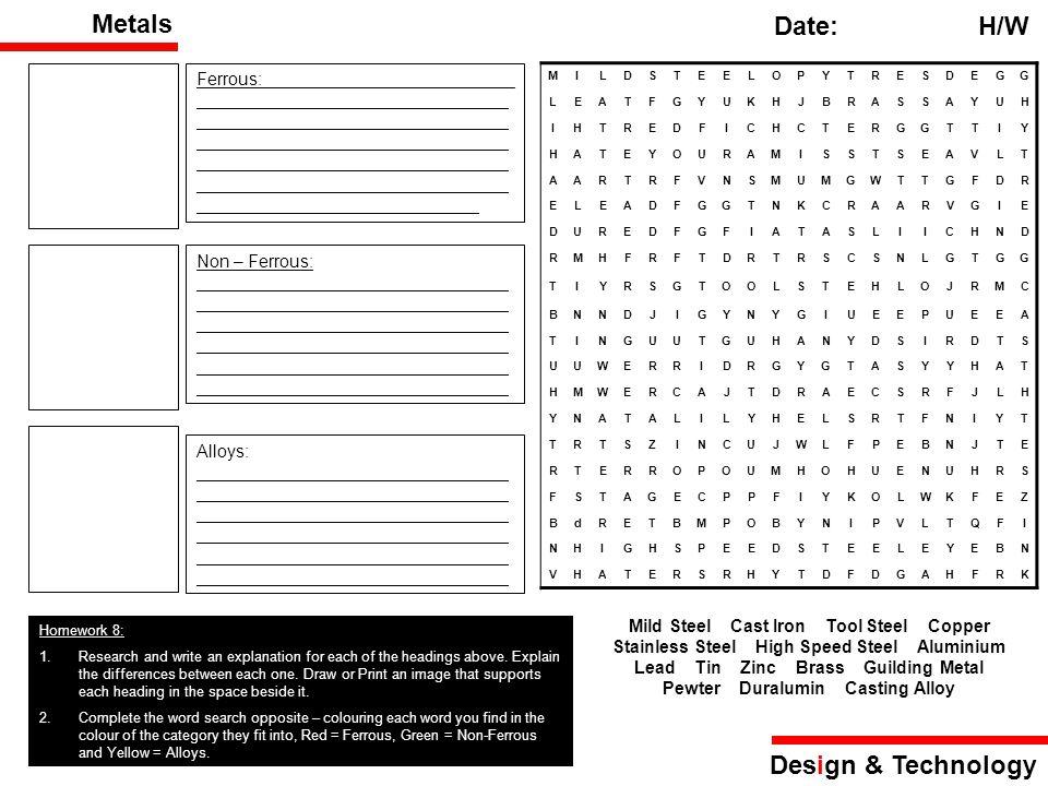 Metals Date: H/W Design & Technology Ferrous:__________________________ ________________________________ ________________________________ ____________
