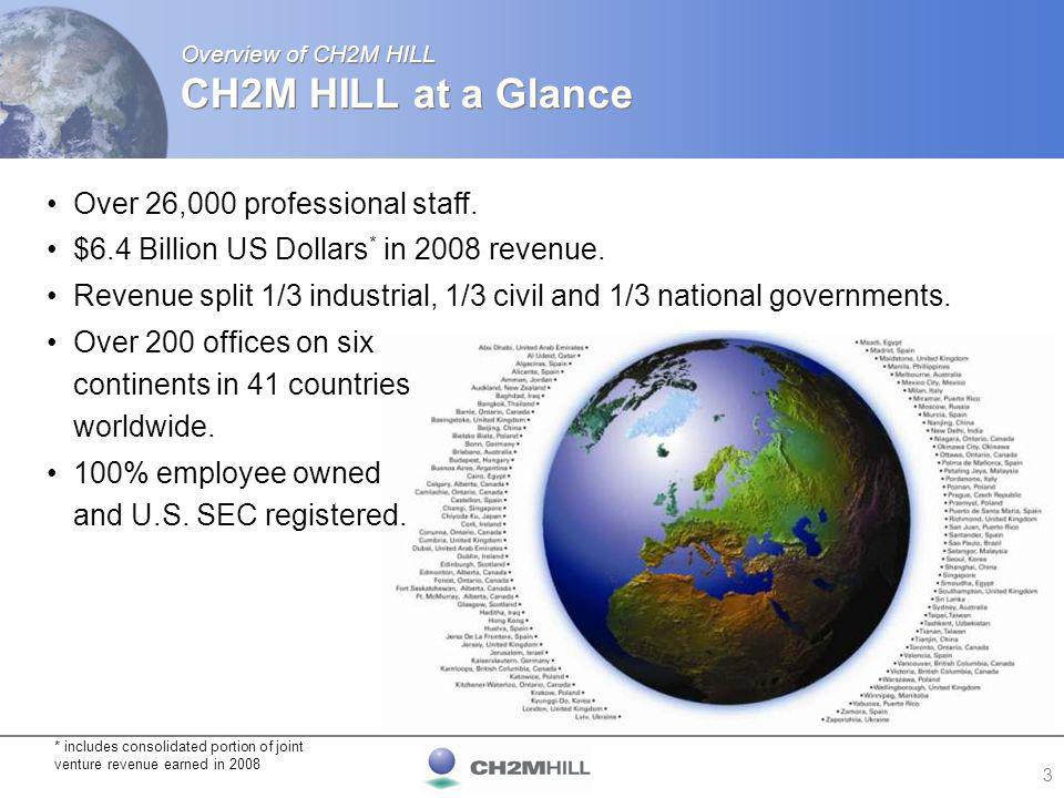 4 Overview of CH2M HILL CH2M HILL Business Organisation Client-focused organisation serving major global markets Nuclear Government Facilities and Infrastructure Nuclear, Government & Environmental Environmental Services Enterprise Management Solutions Facilities & Infrastructure Transportation Water, Wastewater, and Water Resources Industrial Facilities City Services/ Operations & Maintenance Energy Chemicals Power Industrial Systems CH2M HILL Business Divisions
