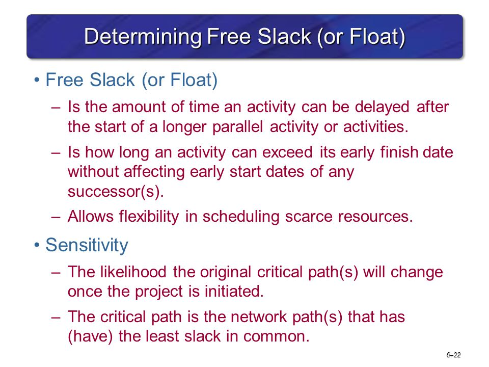 6–22 Determining Free Slack (or Float) Free Slack (or Float) –Is the amount of time an activity can be delayed after the start of a longer parallel ac