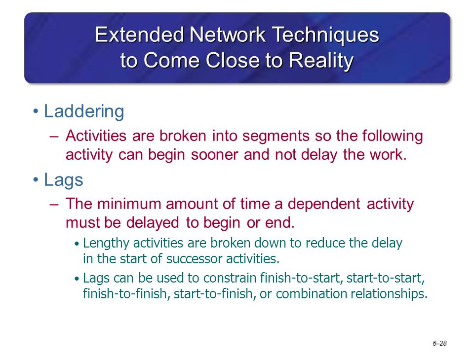 6–28 Extended Network Techniques to Come Close to Reality Laddering –Activities are broken into segments so the following activity can begin sooner an