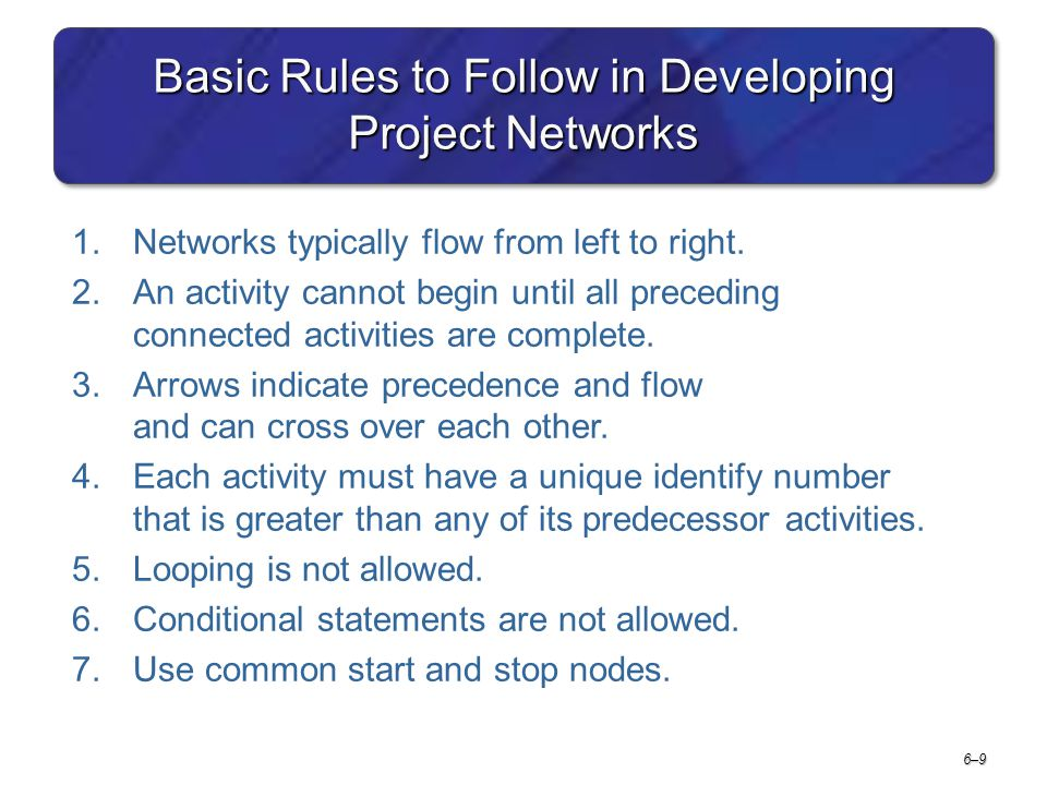 6–96–9 Basic Rules to Follow in Developing Project Networks 1.Networks typically flow from left to right. 2.An activity cannot begin until all precedi