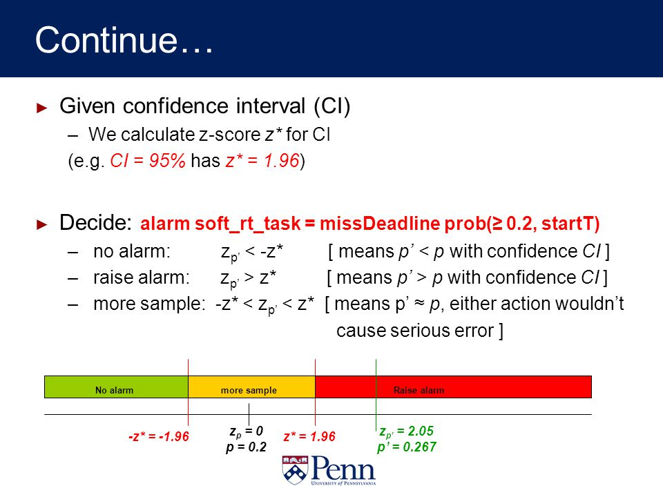 Continue… Given confidence interval (CI) –We calculate z-score z* for CI (e.g.