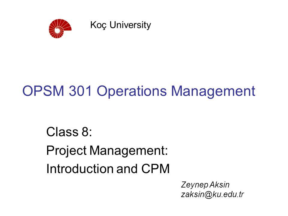 OPSM 301 Operations Management Class 8: Project Management: Introduction and CPM Koç University Zeynep Aksin zaksin@ku.edu.tr