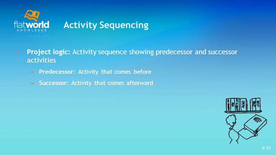 8-14 Activity Sequencing Project logic: Activity sequence showing predecessor and successor activities – Predecessor: Activity that comes before – Suc