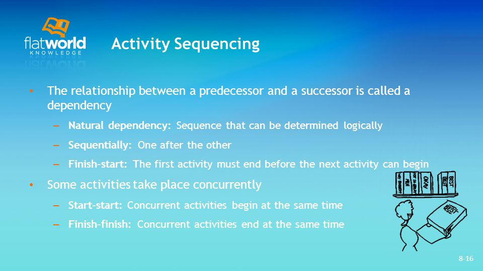 8-16 Activity Sequencing The relationship between a predecessor and a successor is called a dependency – Natural dependency: Sequence that can be dete