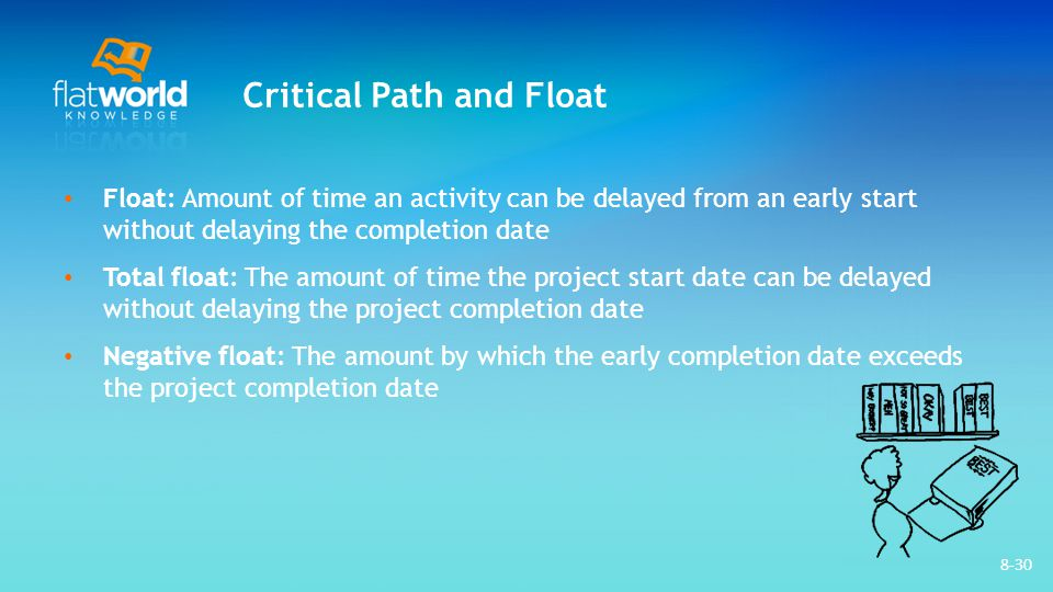 8-30 Critical Path and Float Float: Amount of time an activity can be delayed from an early start without delaying the completion date Total float: Th