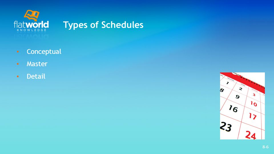 8-37 Project Scheduling Software Use a software which is already in use and is familiar to team members Should have the basic features: – Durations – Relationships – Milestones – Start and end dates – Resource calendars – Graphic displays using Gantt and network charts