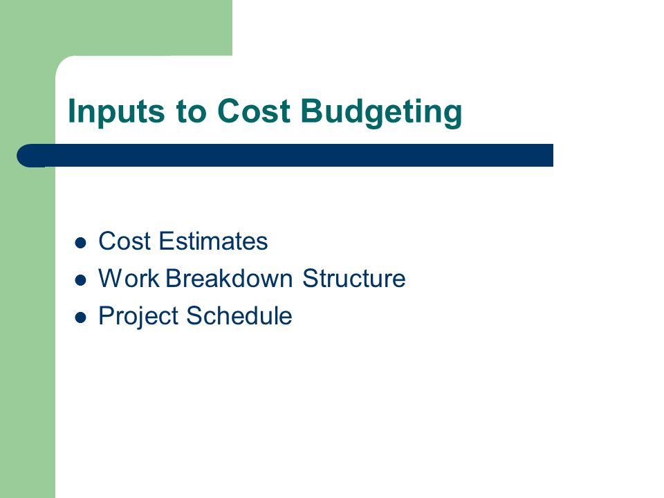 Inputs to Cost Budgeting Cost Estimates Work Breakdown Structure Project Schedule