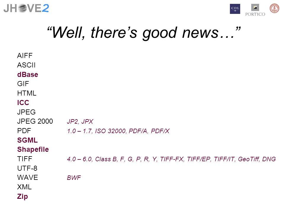 Well, theres good news… AIFF ASCII dBase GIF HTML ICC JPEG JPEG 2000 JP2, JPX PDF 1.0 – 1.7, ISO 32000, PDF/A, PDF/X SGML Shapefile TIFF 4.0 – 6.0, Cl