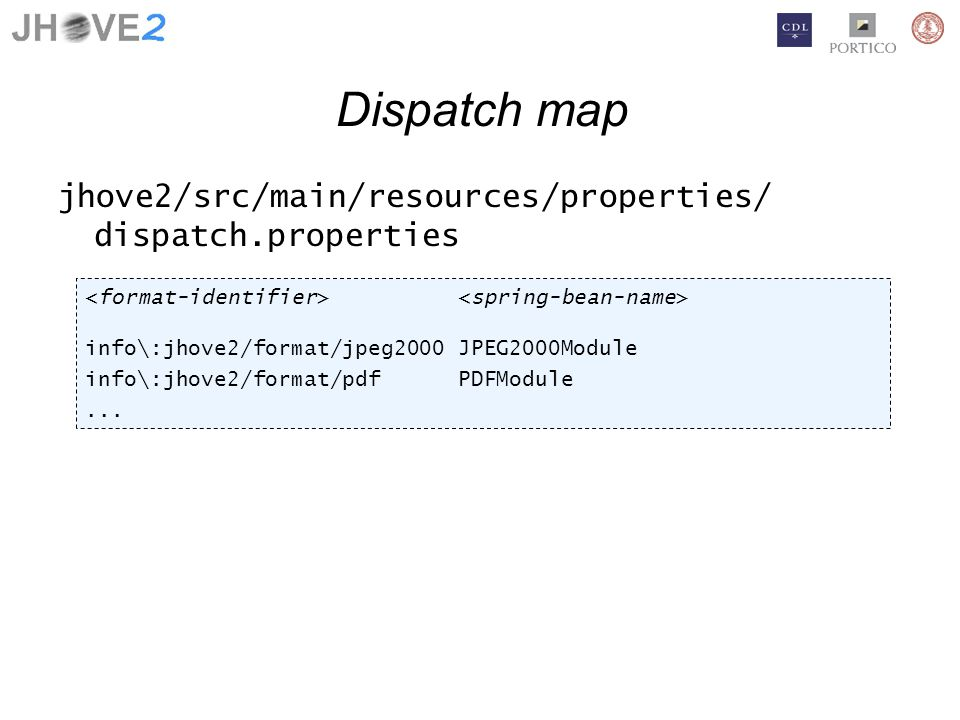 Dispatch map jhove2/src/main/resources/properties/ dispatch.properties info\:jhove2/format/jpeg2000 JPEG2000Module info\:jhove2/format/pdf PDFModule...