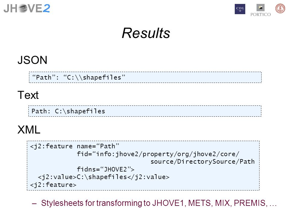 Results JSON Text XML –Stylesheets for transforming to JHOVE1, METS, MIX, PREMIS, … Path: C:\\shapefiles Path: C:\shapefiles <j2:feature name=Path fid=info:jhove2/property/org/jhove2/core/ source/DirectorySource/Path fidns=JHOVE2> C:\shapefiles