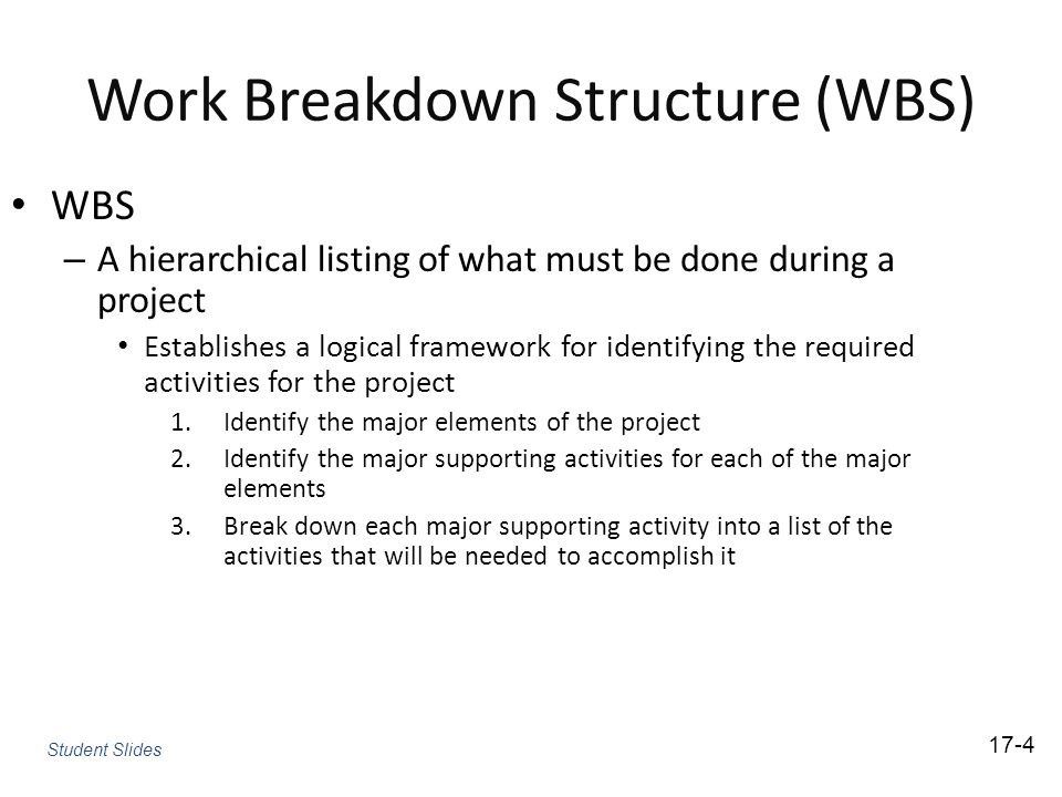 Work Breakdown Structure (WBS) WBS – A hierarchical listing of what must be done during a project Establishes a logical framework for identifying the required activities for the project 1.Identify the major elements of the project 2.Identify the major supporting activities for each of the major elements 3.Break down each major supporting activity into a list of the activities that will be needed to accomplish it 17-4 Student Slides