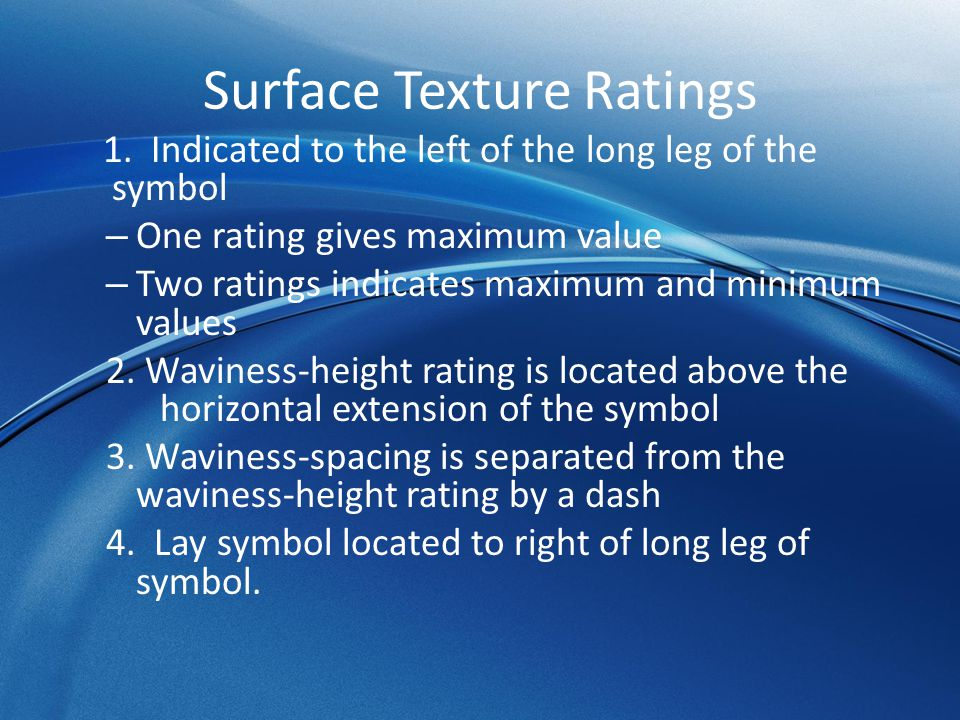 Surface Texture Ratings 1.