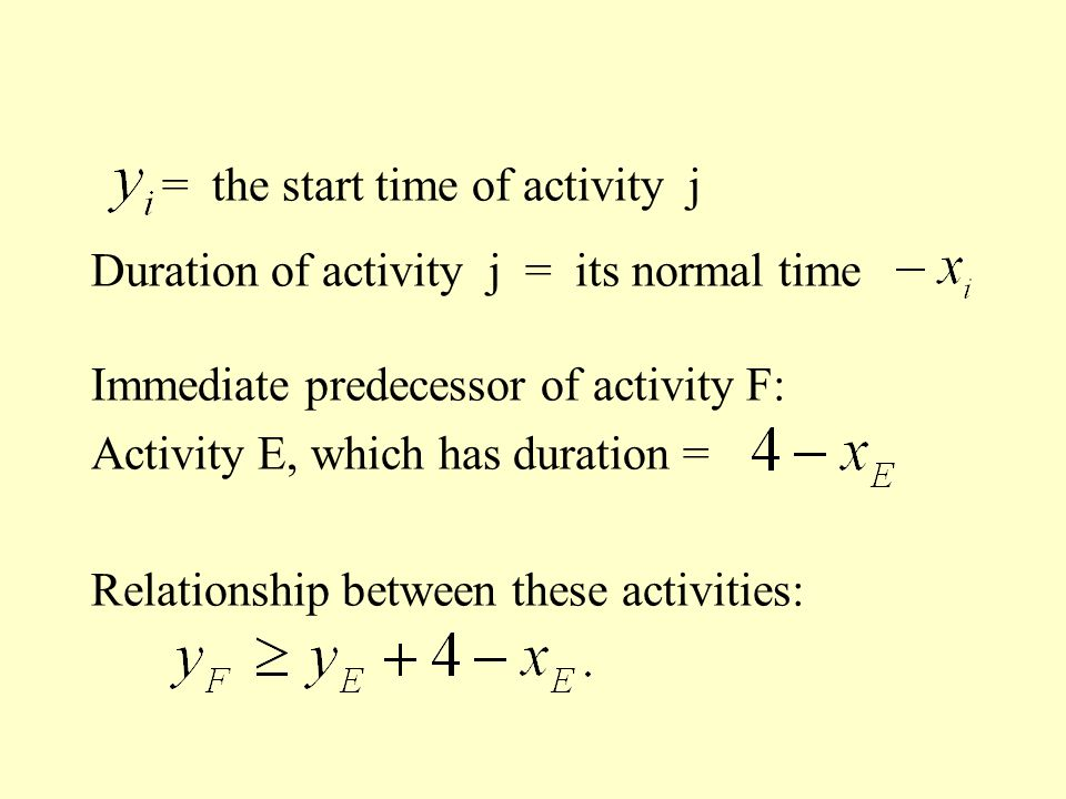 = the start time of activity j Duration of activity j = its normal time Immediate predecessor of activity F: Activity E, which has duration = Relation