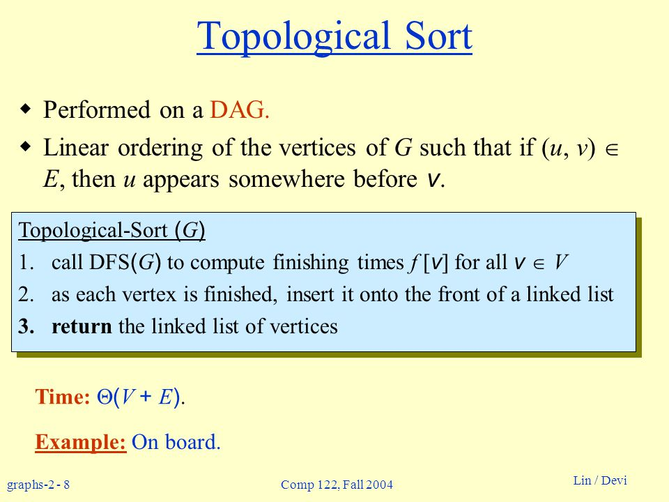 graphs Lin / Devi Comp 122, Fall 2004 Topological Sort Performed on a DAG.