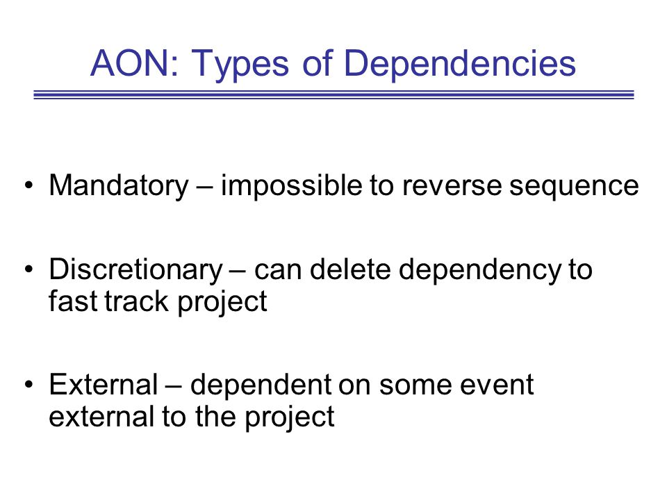 AON: Types of Dependencies Mandatory – impossible to reverse sequence Discretionary – can delete dependency to fast track project External – dependent