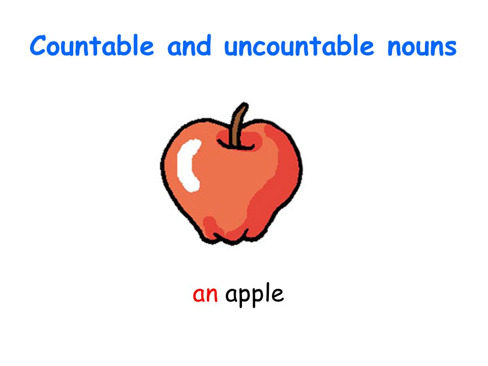 Countable and uncountable nouns an apple