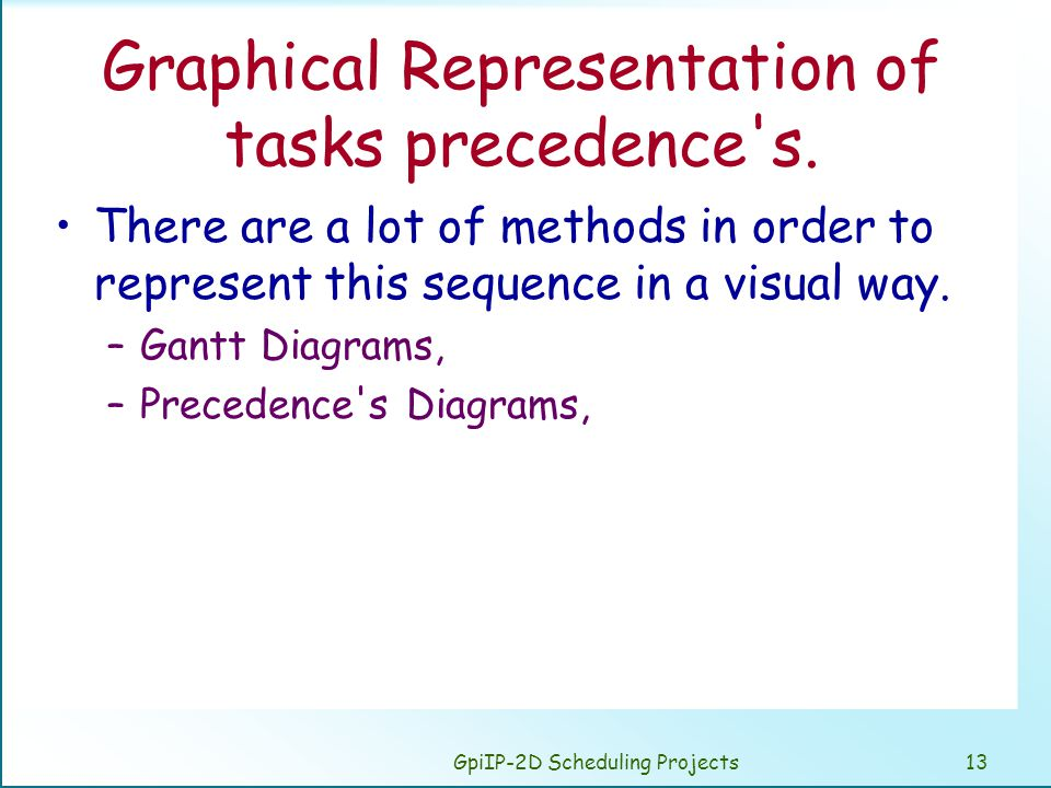 GpiIP-2D Scheduling Projects13 Graphical Representation of tasks precedence s.