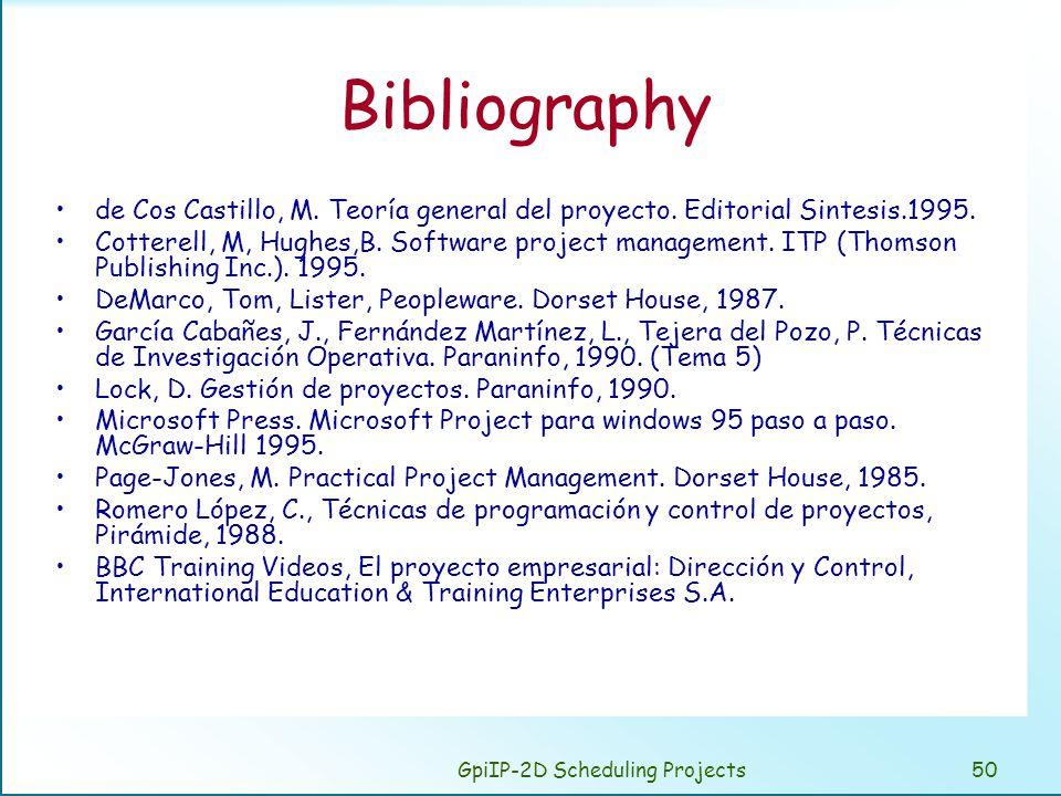 GpiIP-2D Scheduling Projects50 Bibliography de Cos Castillo, M. Teoría general del proyecto. Editorial Sintesis.1995. Cotterell, M, Hughes,B. Software