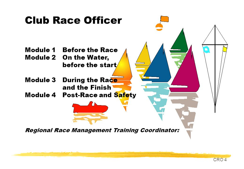 CRO 4 Club Race Officer Module 1Before the Race Module 2On the Water, before the start Module 3During the Race and the Finish Module 4Post-Race and Safety Regional Race Management Training Coordinator: