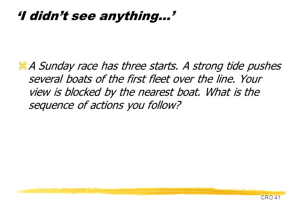 CRO 41 I didnt see anything... zA Sunday race has three starts.