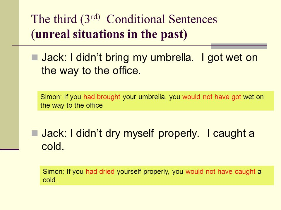 The third (3 rd) Conditional Sentences (unreal situations in the past) Jack: I didnt bring my umbrella.