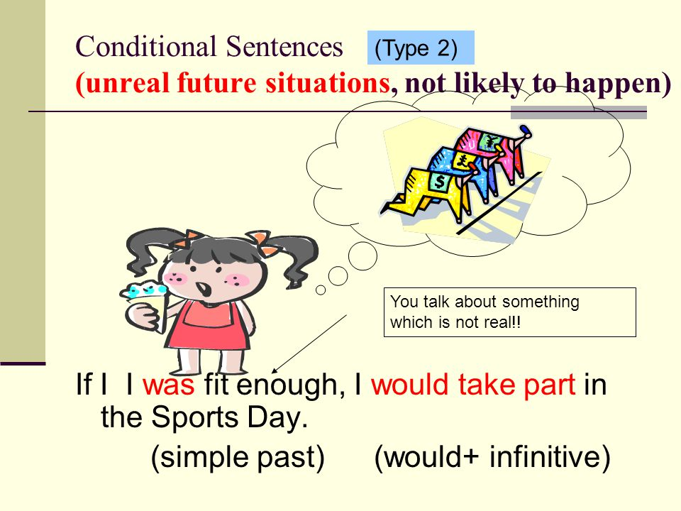 Conditional Sentences (unreal future situations, not likely to happen) If I I was fit enough, I would take part in the Sports Day.