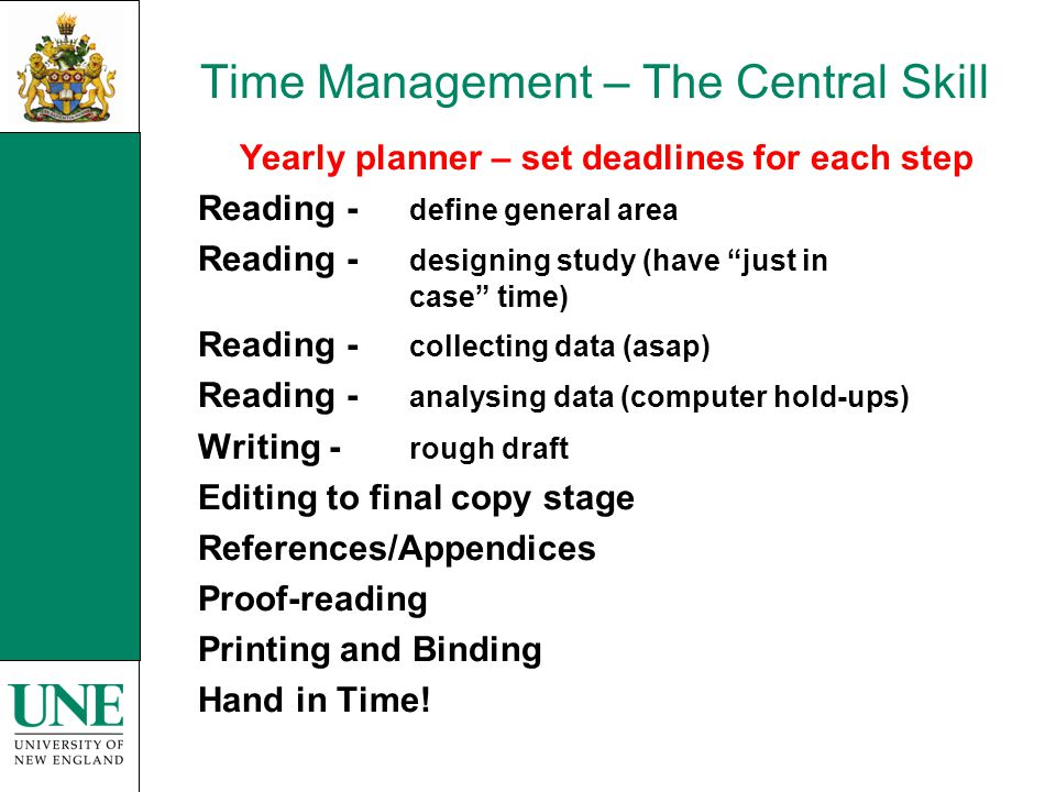 Time Management – The Central Skill Yearly planner – set deadlines for each step Reading - define general area Reading - designing study (have just in case time) Reading - collecting data (asap) Reading - analysing data (computer hold-ups) Writing - rough draft Editing to final copy stage References/Appendices Proof-reading Printing and Binding Hand in Time!