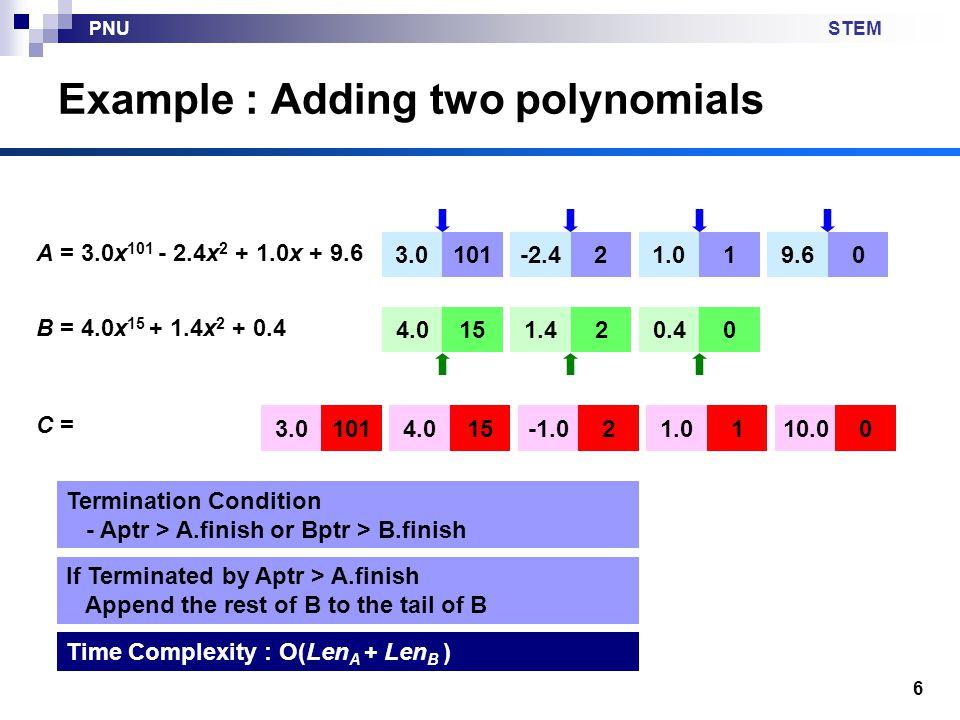 STEMPNU 7 Sparse Matrix Matrix with many zero elements Two Representations 1234567 10000000 20100000 30000000 40000000 54000200 60000010 70060000 RowColValue 221 514 552 661 736 vs.