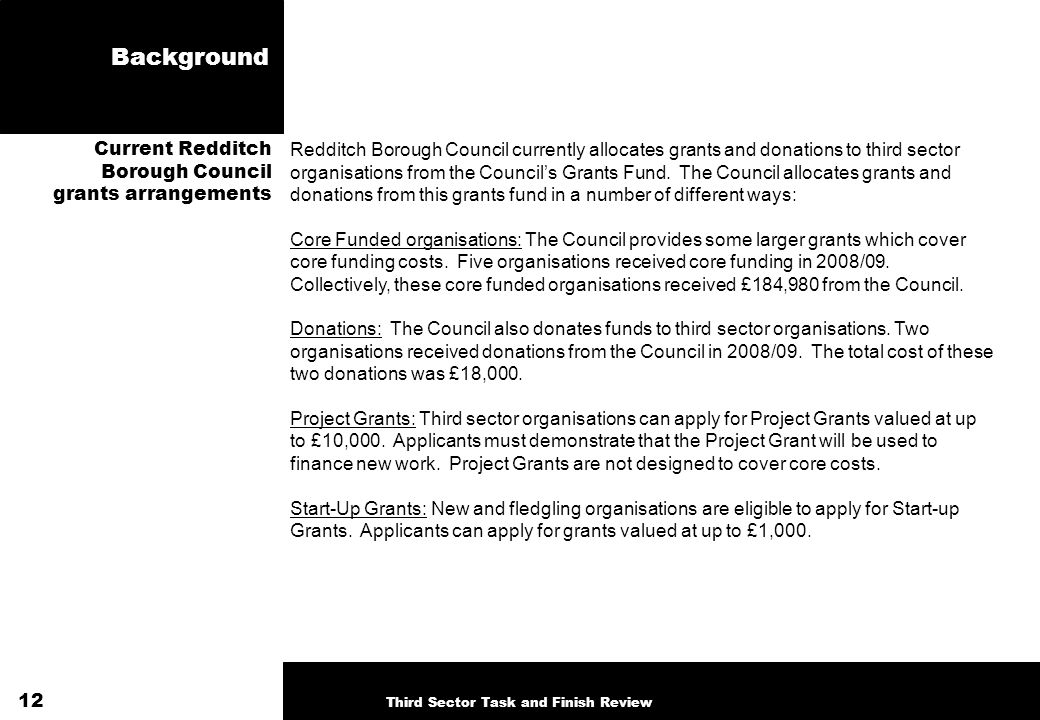 Background Redditch Borough Council currently allocates grants and donations to third sector organisations from the Councils Grants Fund. The Council