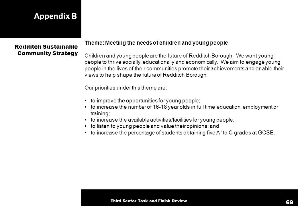 Appendix B Theme: Meeting the needs of children and young people Children and young people are the future of Redditch Borough. We want young people to