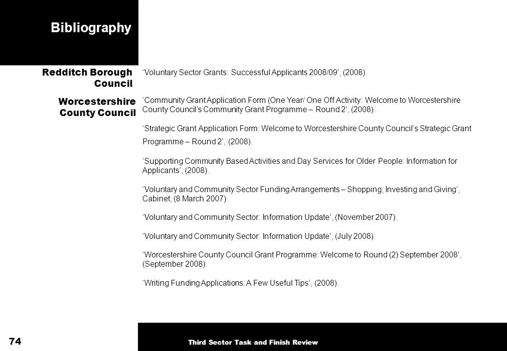 Bibliography Voluntary Sector Grants: Successful Applicants 2008/09, (2008).