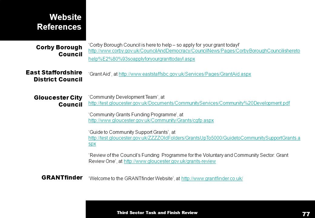 Website References Corby Borough Council is here to help – so apply for your grant today! http://www.corby.gov.uk/CouncilAndDemocracy/CouncilNews/Page