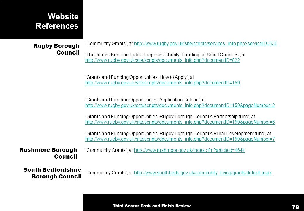 Website References Community Grants, at http://www.rugby.gov.uk/site/scripts/services_info.php serviceID=530http://www.rugby.gov.uk/site/scripts/services_info.php serviceID=530 The James Kenning Public Purposes Charity: Funding for Small Charities, at http://www.rugby.gov.uk/site/scripts/documents_info.php documentID=822 http://www.rugby.gov.uk/site/scripts/documents_info.php documentID=822 Grants and Funding Opportunities: How to Apply, at http://www.rugby.gov.uk/site/scripts/documents_info.php documentID=159 http://www.rugby.gov.uk/site/scripts/documents_info.php documentID=159 Grants and Funding Opportunities: Application Criteria, at http://www.rugby.gov.uk/site/scripts/documents_info.php documentID=159&pageNumber=2 Grants and Funding Opportunities: Rugby Borough Councils Partnership fund, at http://www.rugby.gov.uk/site/scripts/documents_info.php documentID=159&pageNumber=6 Grants and Funding Opportunities: Rugby Borough Councils Rural Development fund, at http://www.rugby.gov.uk/site/scripts/documents_info.php documentID=159&pageNumber=7 Community Grants, at http://www.rushmoor.gov.uk/index.cfm articleid=4644http://www.rushmoor.gov.uk/index.cfm articleid=4644 Community Grants, at http://www.southbeds.gov.uk/community_living/grants/default.aspxhttp://www.southbeds.gov.uk/community_living/grants/default.aspx Rugby Borough Council Rushmore Borough Council South Bedfordshire Borough Council Third Sector Task and Finish Review 79