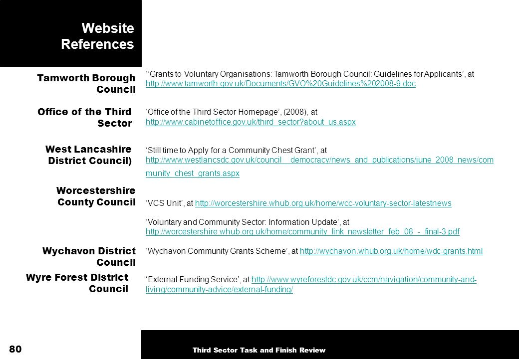 Website References Grants to Voluntary Organisations: Tamworth Borough Council: Guidelines for Applicants, at http://www.tamworth.gov.uk/Documents/GVO