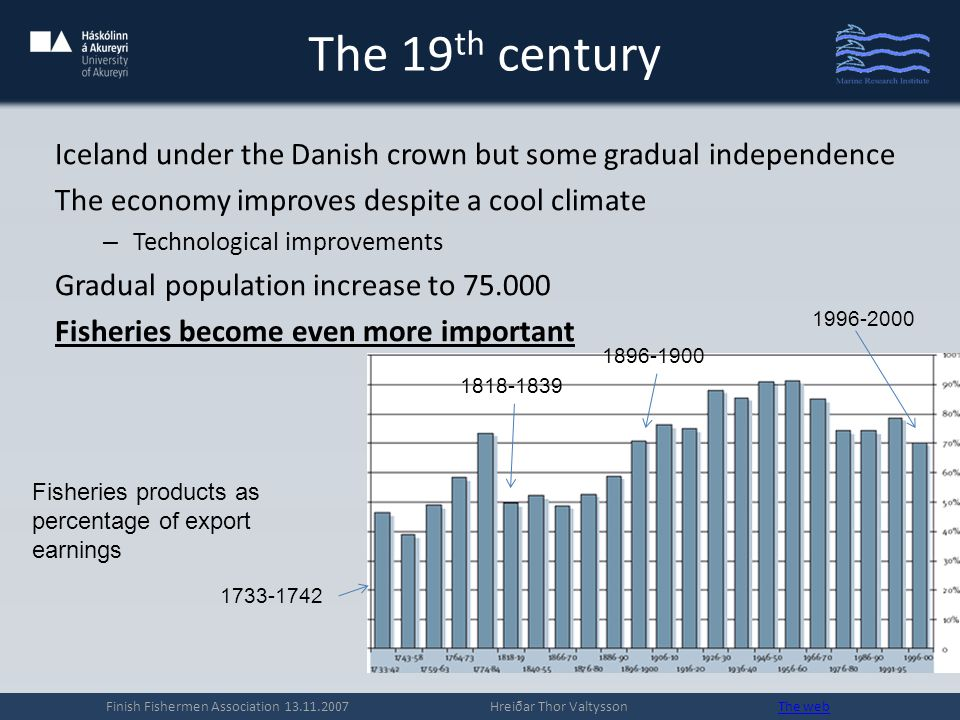The 19 th century Iceland under the Danish crown but some gradual independence The economy improves despite a cool climate – Technological improvements Gradual population increase to 75.000 Fisheries become even more important Finish Fishermen Association 13.11.2007 Hreiðar Thor Valtysson The webThe web Fisheries products as percentage of export earnings 1733-1742 1818-1839 1896-1900 1996-2000