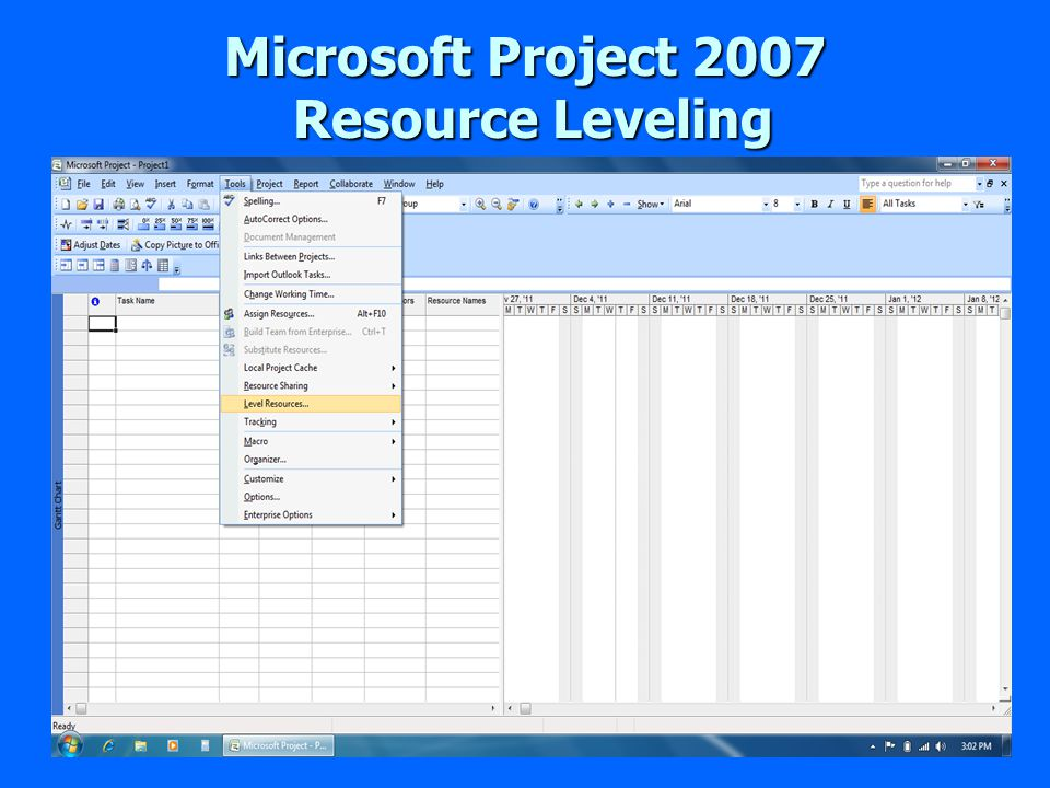 Microsoft Project 2007 Resource Leveling Resource Leveling