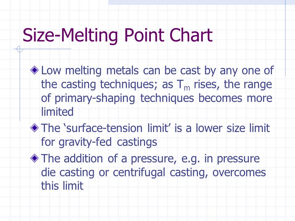 Hardness-Melting Point Chart Yield strength limits the ability to deform and machine Forging and rolling pressure, tool loading and the heat generated during machining depends on the flow strength or UTS Real materials occupy only the region between the two heavy lines because hardness (H) and T m are inter-dependent.