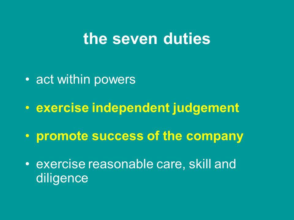 Companies Act 2006 statutory Code of Conduct seven duties