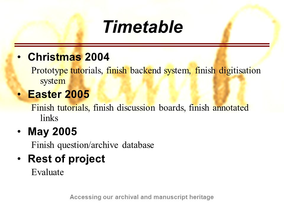 Accessing our archival and manuscript heritage Timetable Christmas 2004 Prototype tutorials, finish backend system, finish digitisation system Easter