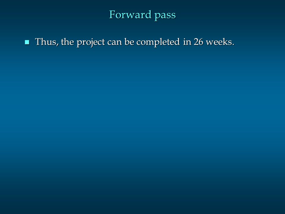 n Thus, the project can be completed in 26 weeks.