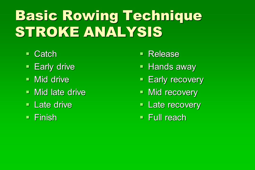 Basic Rowing Technique STROKE ANALYSIS Catch Catch Early drive Early drive Mid drive Mid drive Mid late drive Mid late drive Late drive Late drive Fin