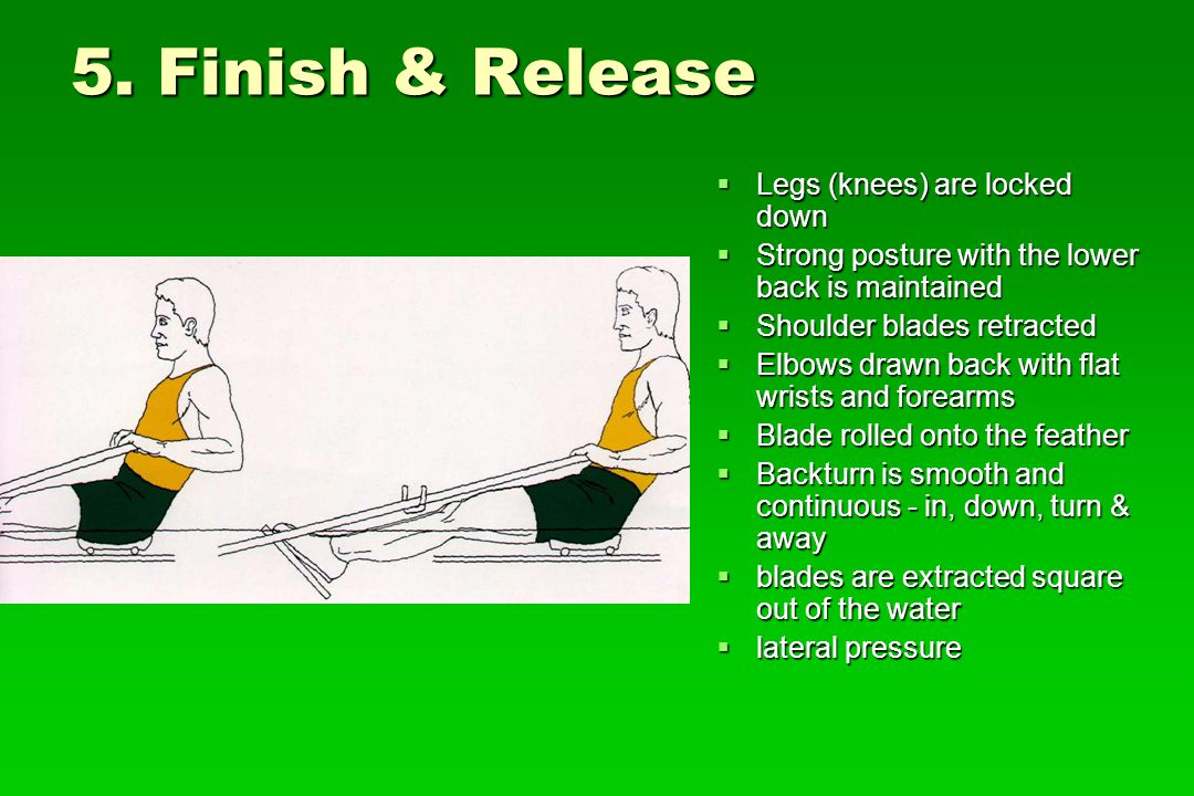 5. Finish & Release Legs (knees) are locked down Legs (knees) are locked down Strong posture with the lower back is maintained Strong posture with the
