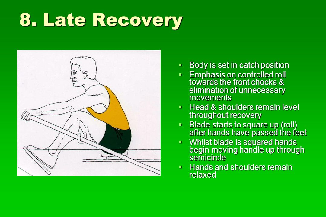 8. Late Recovery Body is set in catch position Body is set in catch position Emphasis on controlled roll towards the front chocks & elimination of unn
